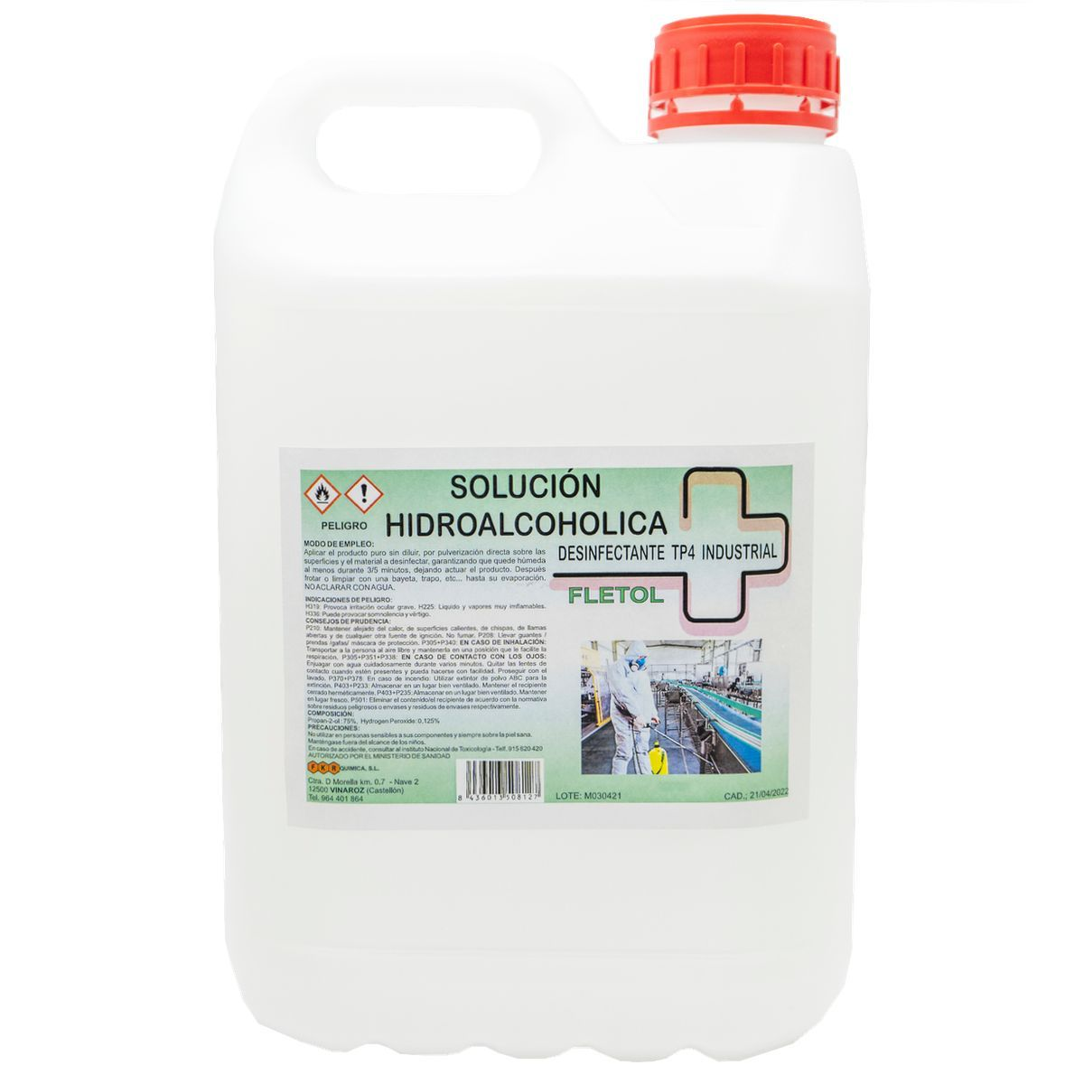 Desinfectante Solución Hidroalcoholica Fletol 5L